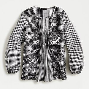 🆕NWT J.Crew Embroidered Gingham Popover Blouse